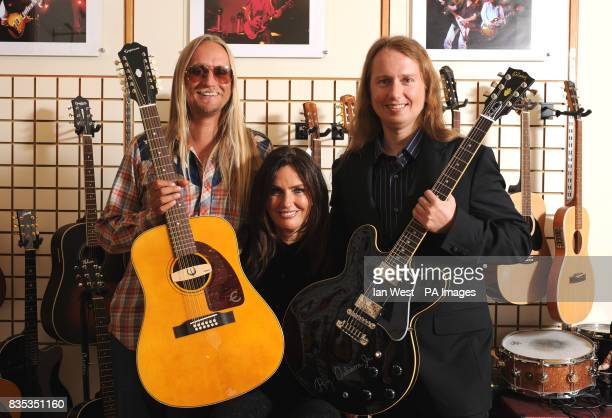 Alex Orbison with the new Roy Orbison Limited Edition Epiphone 'Pretty Woman' 12 string acoustic guitar Barbara Orbison and Roy Orbison Jnr with the...