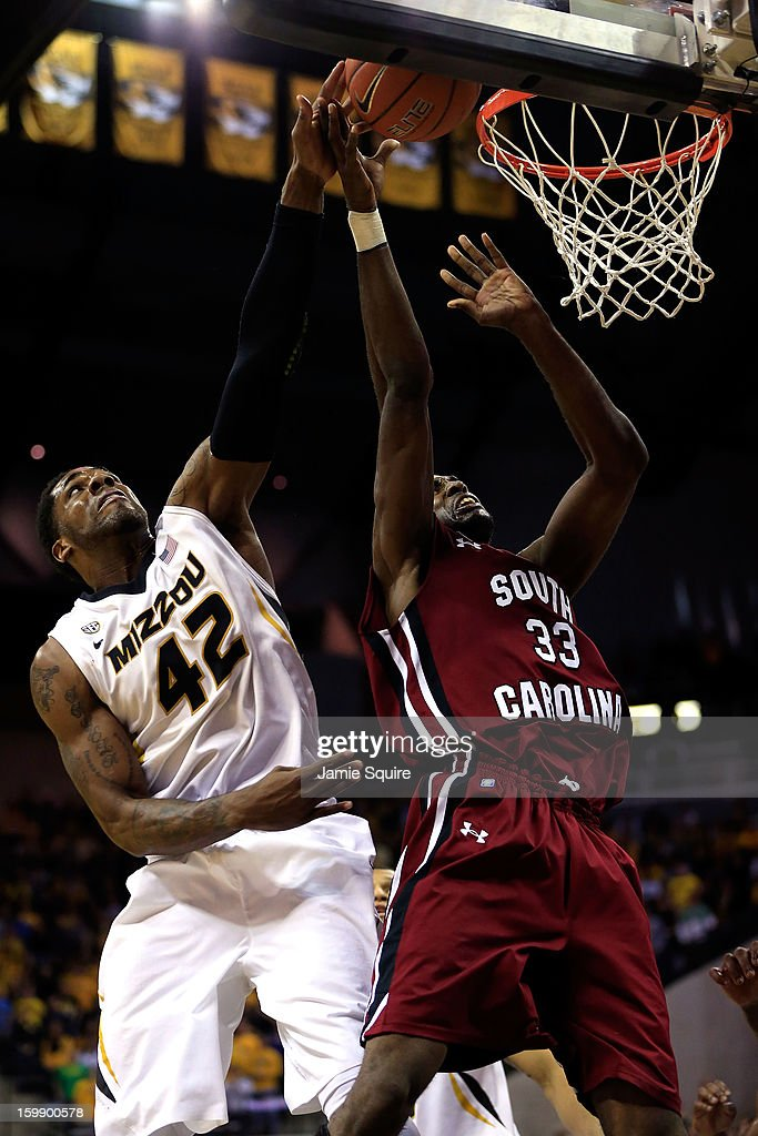 Alex Oriakhi #42 of the Missouri Tigers battles RJ Slawson #33 of the South Carolina Gamecocks for a rebound during the game at Mizzou Arena on January 22, 2013 in Columbia, Missouri.