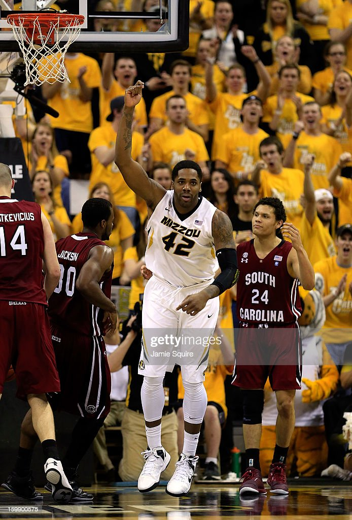 Alex Oriakhi #42 of the Missouri Tigers celebrates after scoring during the game against the South Carolina Gamecocks at Mizzou Arena on January 22, 2013 in Columbia, Missouri.