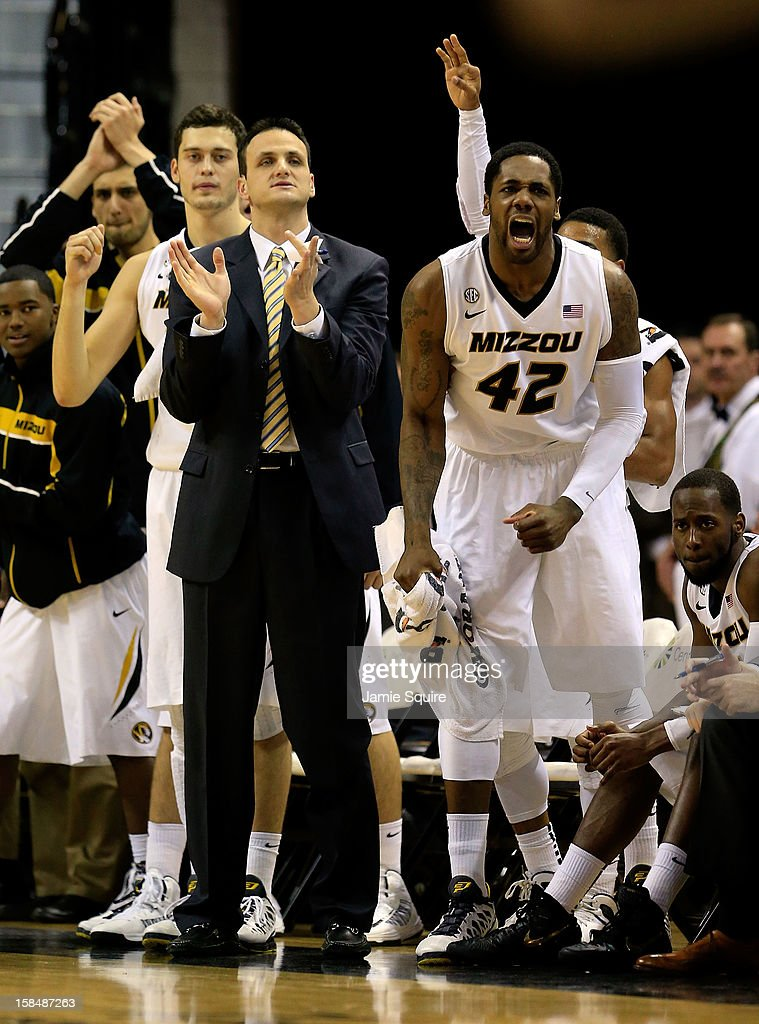 Alex Oriakhi #42 of the Missouri Tigers reacts from the bench during the game against the South Carolina State Bulldogs at Mizzou Arena on December 17, 2012 in Columbia, Missouri.