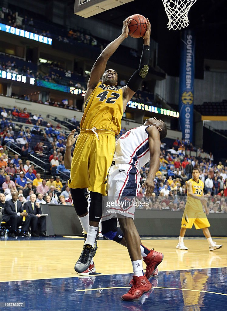 Alex Oriakhi #42 of the Missouri Tigers shoots the ball against the Ole Miss Rebels during the quarterfinals of the SEC Baketball Tournament at Bridgestone Arena on March 15, 2013 in Nashville, Tennessee.