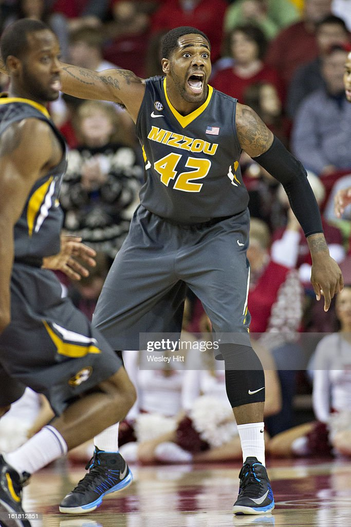 Alex Oriakhi #42 of the Missouri Tigers yells to his teammates during a game against the Arkansas Razorbacks at Bud Walton Arena on February 16, 2013 in Fayetteville, Arkansas. The Razorbacks defeated the Tigers 73-71.