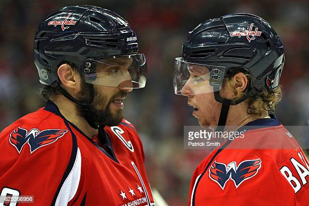 Alex Ovechkin and Nicklas Backstrom of the Washington Capitals talk against the St Louis Blues during the first period at Verizon Center on November...