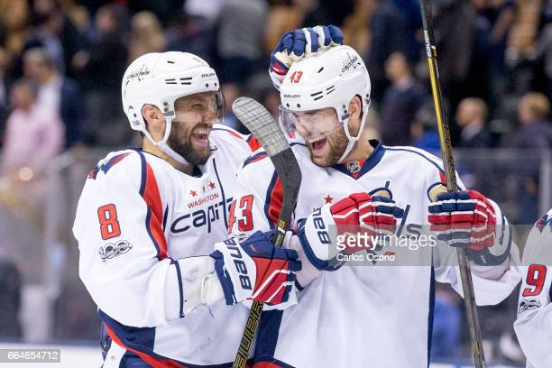 TORONTO ON APRIL 4 Alex Ovechkin and Tom Wilson of the Washington Capitals laugh after the 3rd period of NHL action as the Washington Capitals defeat...