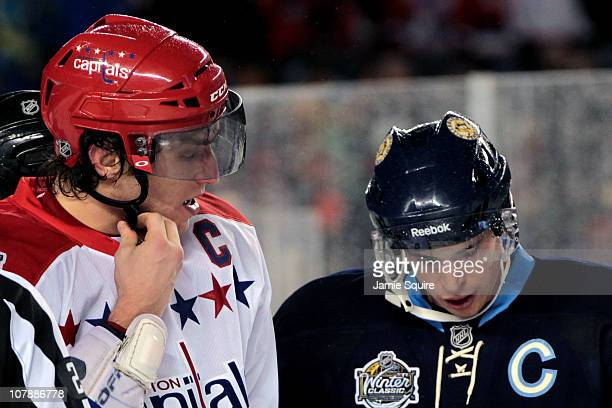 Alex Ovechkin of the Washington Capitals and Sidney Crosby of the Pittsburgh Penguins are seen during the 2011 NHL Bridgestone Winter Classic at...