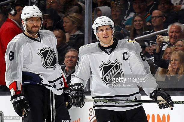 Alex Ovechkin of the Washington Capitals and Sidney Crosby of the Pittsburgh Penguins look on during the 2017 Honda NHL AllStar Game Semifinal at...