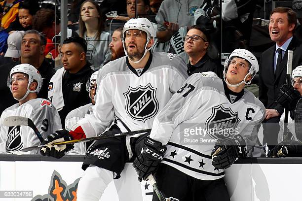 Alex Ovechkin of the Washington Capitals and Sidney Crosby of the Pittsburgh Penguins look on during the 2017 Honda NHL AllStar Tournament Final...