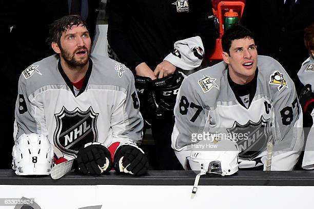 Alex Ovechkin of the Washington Capitals and Sidney Crosby of the Pittsburgh Penguins look on from the bench during the 2017 Honda NHL AllStar Game...
