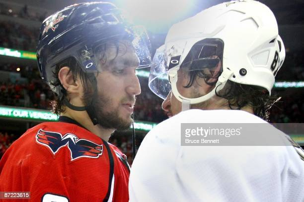Alex Ovechkin of the Washington Capitals and Sidney Crosby of the Pittsburgh Penguins shake hands after Pittsburgh's 62 victory in Game Seven of the...