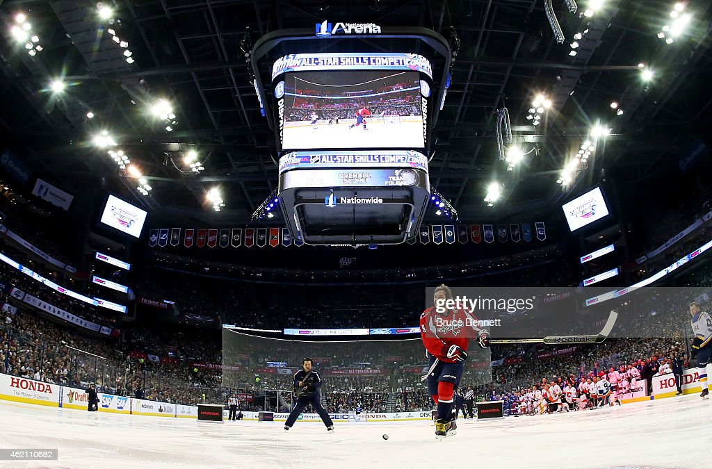 Alex Ovechkin #8 of the Washington Capitals and Team Foligno reacts during the 2015 Honda NHL All-Star Skills Competition at the Nationwide Arena on January 24, 2015 in Columbus, Ohio.