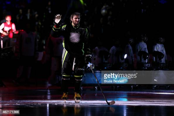 Alex Ovechkin of the Washington Capitals and Team Foligno waves to the crowd during the 2015 Honda NHL AllStar Game at Nationwide Arena on January 25...
