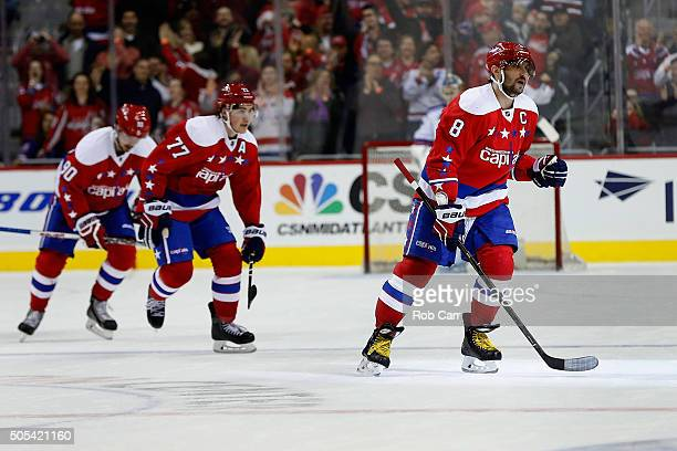 Alex Ovechkin of the Washington Capitals celebrates a first period goal against the New York Rangers at Verizon Center on January 17 2016 in...