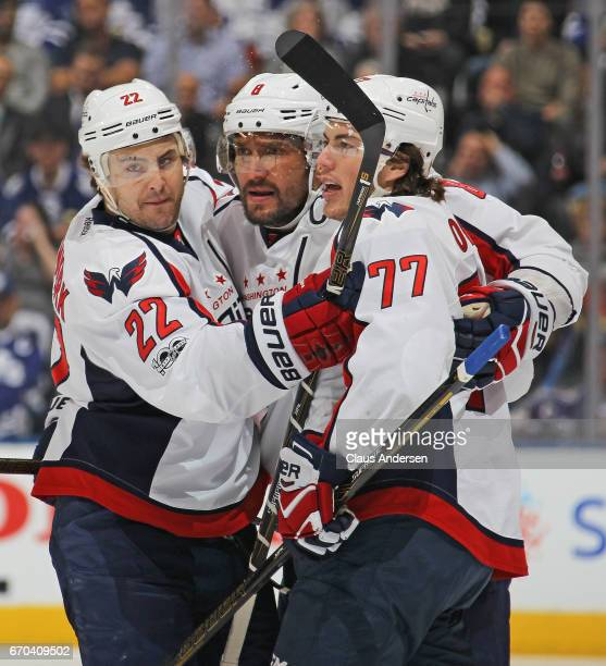 Alex Ovechkin of the Washington Capitals celebrates a goal against the Toronto Maple Leafs in Game Four of the Eastern Conference Quarterfinals...