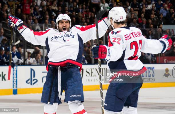 Alex Ovechkin of the Washington Capitals celebrates a goal scored by his teammate Kevin Shattenkirk during the second period of play against the...