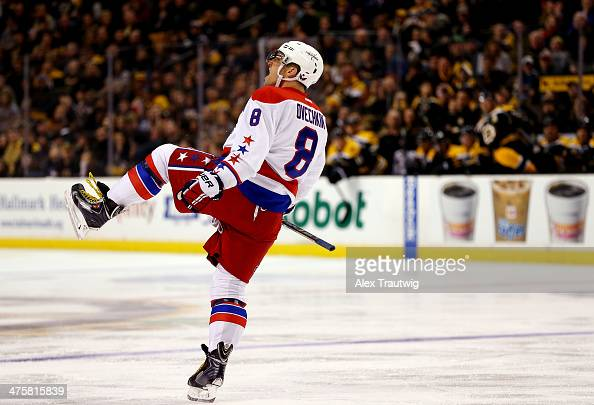Alex Ovechkin of the Washington Capitals celebrates a second period goal his second of the game and his 800th career point against the Boston Bruins...