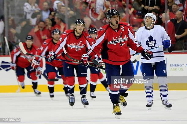Alex Ovechkin of the Washington Capitals celebrates after Nicklas Backstrom scored the tying goal in the third period against the Toronto Maple Leafs...