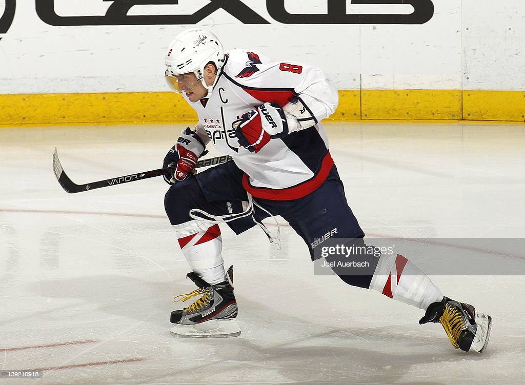 Alex Ovechkin #8 of the Washington Capitals celebrates after scoring a goal against the Florida Panthers to tie the game in the third period on February 17, 2012 at the BankAtlantic Center in Sunrise, Florida.