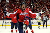 Alex Ovechkin of the Washington Capitals celebrates after scoring a goal in the third period against the Boston Bruins in Game Six of the Eastern...