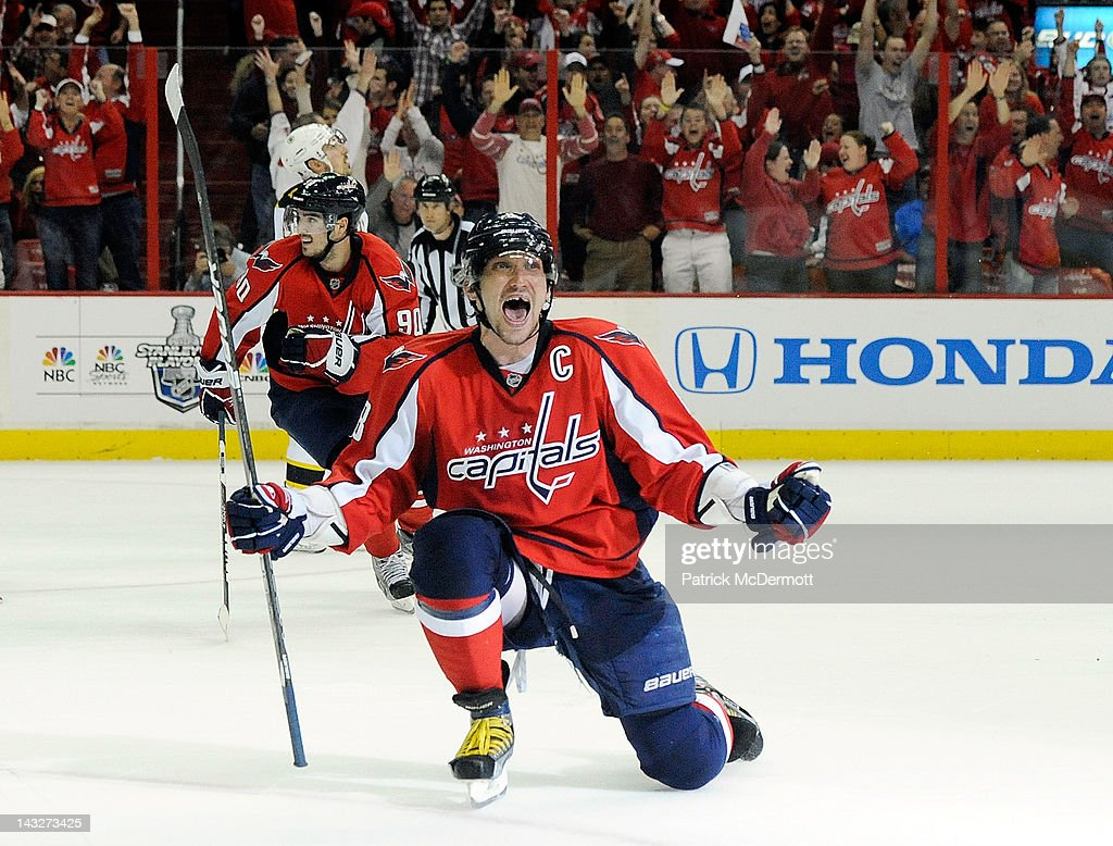 Alex Ovechkin #8 of the Washington Capitals celebrates after scoring a goal in the third period against the Boston Bruins in Game Six of the Eastern Conference Quarterfinals during the 2012 NHL Stanley Cup Playoffs at Verizon Center on April 22, 2012 in Washington, DC.
