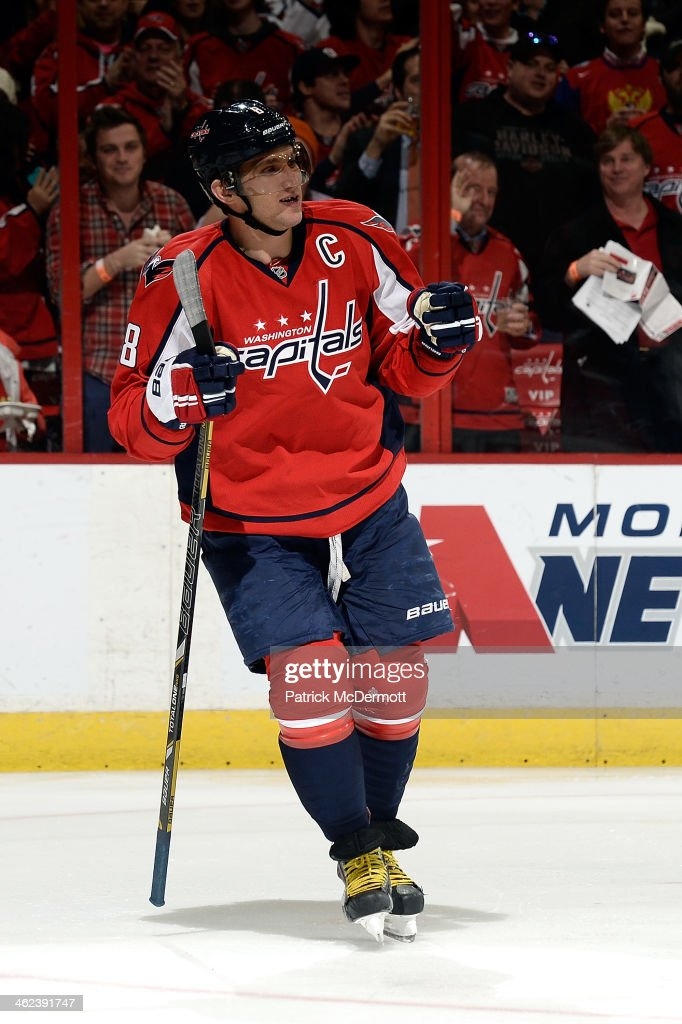 Alex Ovechkin #8 of the Washington Capitals celebrates after scoring a goal in the second period during an NHL game against the Toronto Maple Leafs at Verizon Center on January 10, 2014 in Washington, DC.