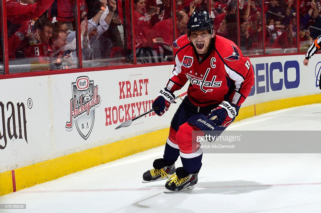 Alex Ovechkin of the Washington Capitals celebrates after scoring a goal in the second period against the New York Islanders in Game Two of the...