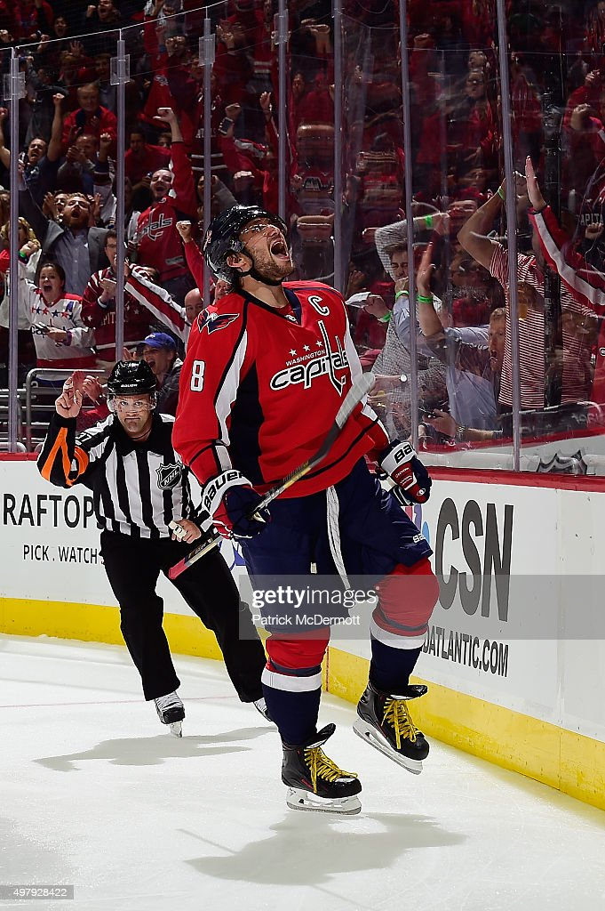 Alex Ovechkin #8 of the Washington Capitals celebrates after scoring a goal against the Dallas Stars in the third period of an NHL game at Verizon Center on November 19, 2015 in Washington, DC. Ovechkin scored his 484rd career NHL goal passing Sergei Fedorov for the most goals by a Russian-born player in NHL history.