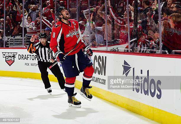 Alex Ovechkin of the Washington Capitals celebrates after scoring a goal against the Dallas Stars in the third period of an NHL game at Verizon...