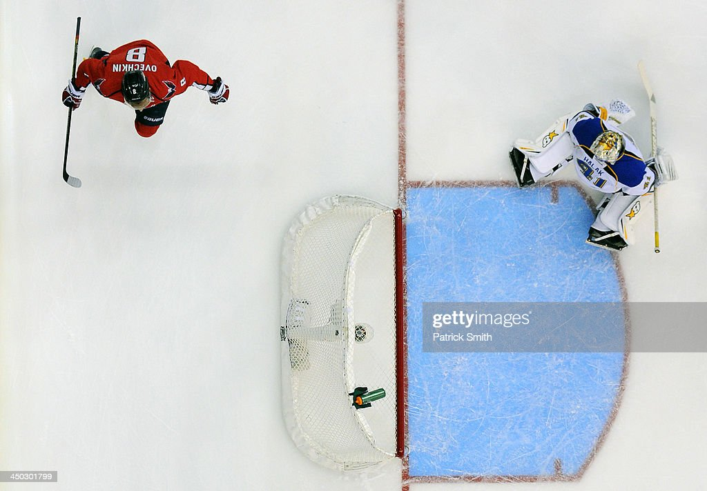 Alex Ovechkin #8 of the Washington Capitals celebrates after scoring his first goal of the first period against <a gi-track='captionPersonalityLinkClicked' href=/galleries/search?phrase=Jaroslav+Halak&family=editorial&specificpeople=2285591 ng-click='$event.stopPropagation()'>Jaroslav Halak</a> #41 of the St. Louis Blues during an NHL game at the Verizon Center on November 17, 2013 in Washington, DC.