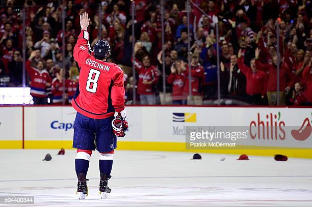 Alex Ovechkin of the Washington Capitals celebrates after scoring his 500th career NHL goal in the second period during an NHL game against the...