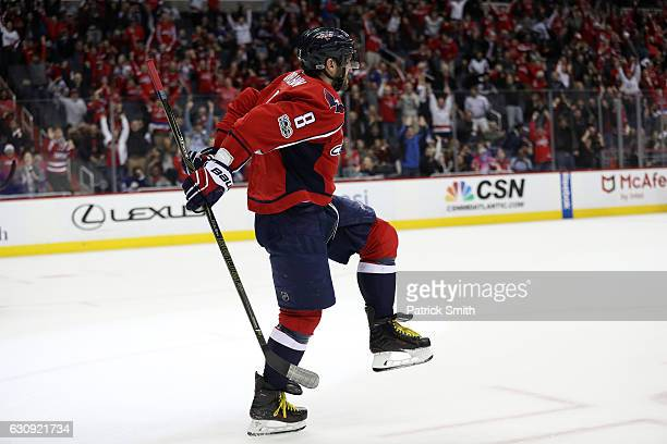 Alex Ovechkin of the Washington Capitals celebrates after scoring the gamewinning goal against the Toronto Maple Leafs during overtime at Verizon...