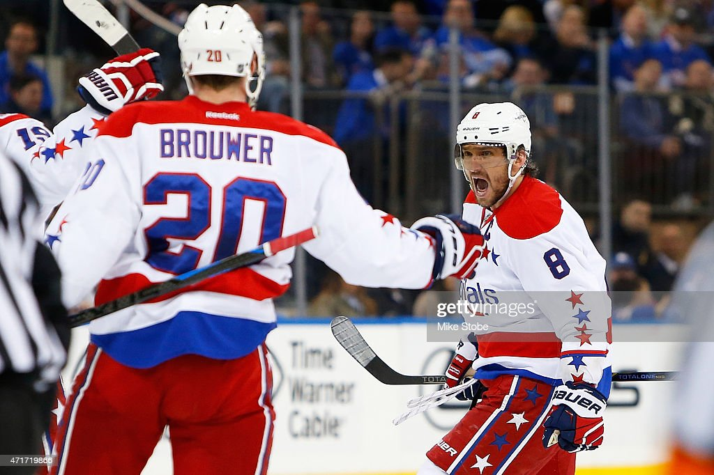Alex Ovechkin of the Washington Capitals celebrates his first period goal against the New York Rangers in Game One of the Eastern Conference...