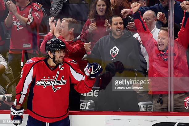 Alex Ovechkin of the Washington Capitals celebrates his first period goal during their game against the Toronto Maple Leafs at Verizon Center on...