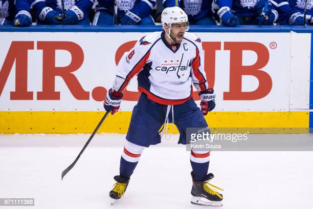 Alex Ovechkin of the Washington Capitals celebrates his first period goal against the Toronto Maple Leafs during Game Four of the Eastern Conference...