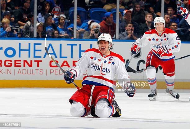 Alex Ovechkin of the Washington Capitals celebrates his game tying goal in the third period against the New York Islanders on December 29 2014 at...