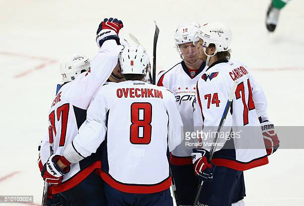 Alex Ovechkin of the Washington Capitals celebrates his goal against the Dallas Stars in the third period at American Airlines Center on February 13...