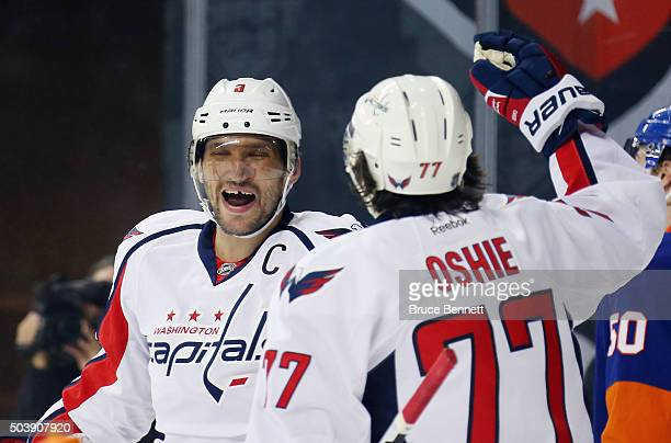 Alex Ovechkin of the Washington Capitals celebrates his goal at 1545 of the first period against the New York Islanders at the Barclays Center on...
