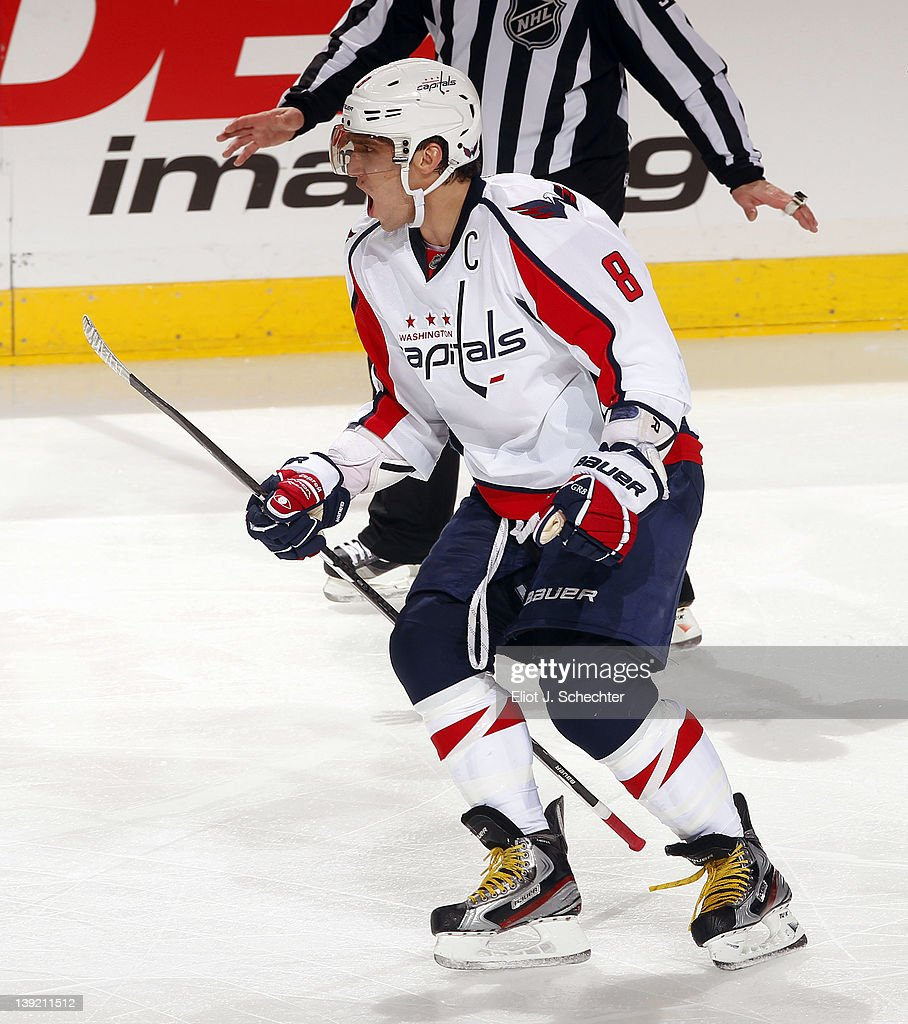 Alex Ovechkin #8 of the Washington Capitals celebrates his goal in their 2-1 win over the Florida Panthers at the BankAtlantic Center on February 17, 2012 in Sunrise, Florida.