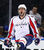 Alex Ovechkin of the Washington Capitals celebrates his powerplay goal at 1103 of the second period against the New York Rangers at Madison Square...