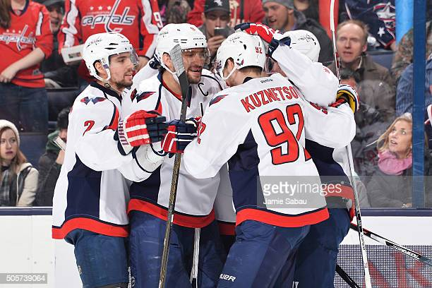 Alex Ovechkin of the Washington Capitals celebrates his powerplay goal with his fellow teammates during the second period of a game against the...