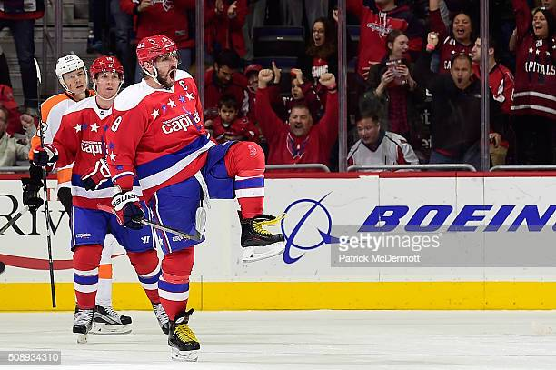 Alex Ovechkin of the Washington Capitals celebrates his second period goal against the Philadelphia Flyers during their game at Verizon Center on...