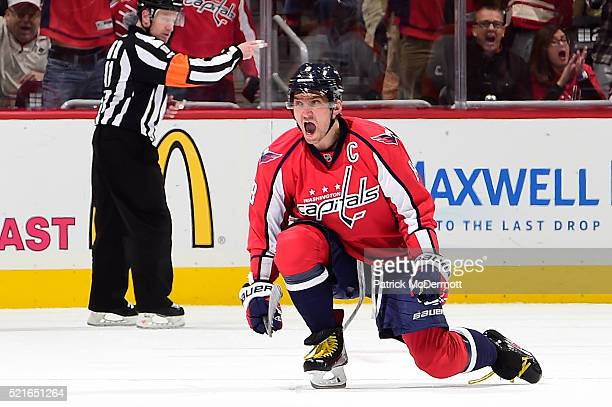 Alex Ovechkin of the Washington Capitals celebrates his second period goal against the Philadelphia Flyers in Game Two of the Eastern Conference...