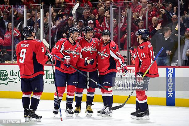 Alex Ovechkin of the Washington Capitals celebrates his third period goal with his teammates during their game against the Arizona Coyotes at Verizon...