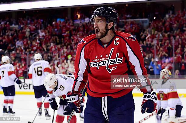 Alex Ovechkin of the Washington Capitals celebrates his third period goal against the Florida Panthers during a NHL game at Verizon Center on...