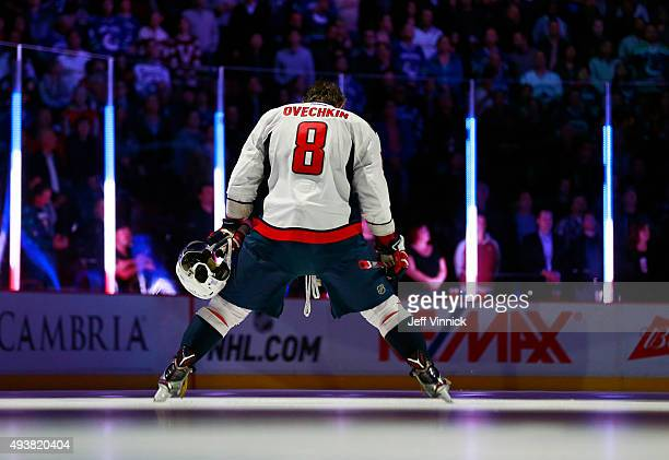 Alex Ovechkin of the Washington Capitals during the national anthem beforetheir NHL game against the Vancouver Canucks at Rogers Arena October 22...