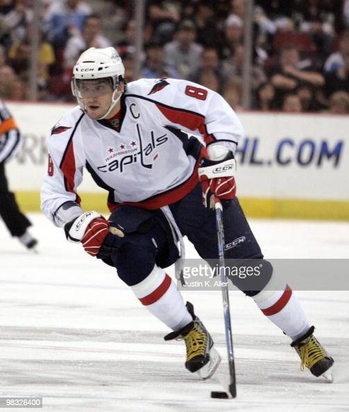 Alex Ovechkin of the Washington Capitals handles the puck against the Pittsburgh Penguins at Mellon Arena on April 6 2010 in Pittsburgh Pennsylvania...