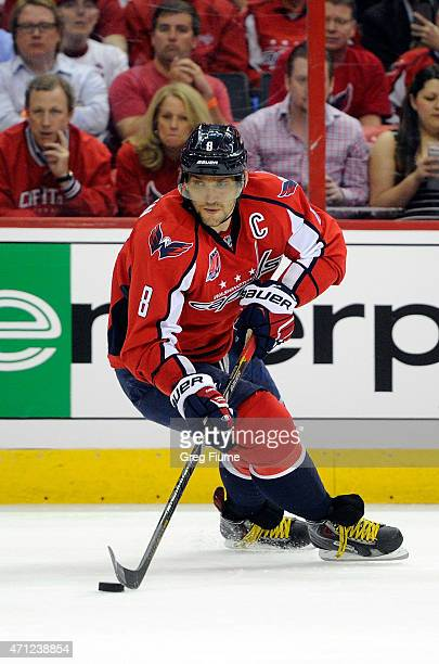 Alex Ovechkin of the Washington Capitals handles the puck in the first period against the New York Islanders during Game Two of the Eastern...