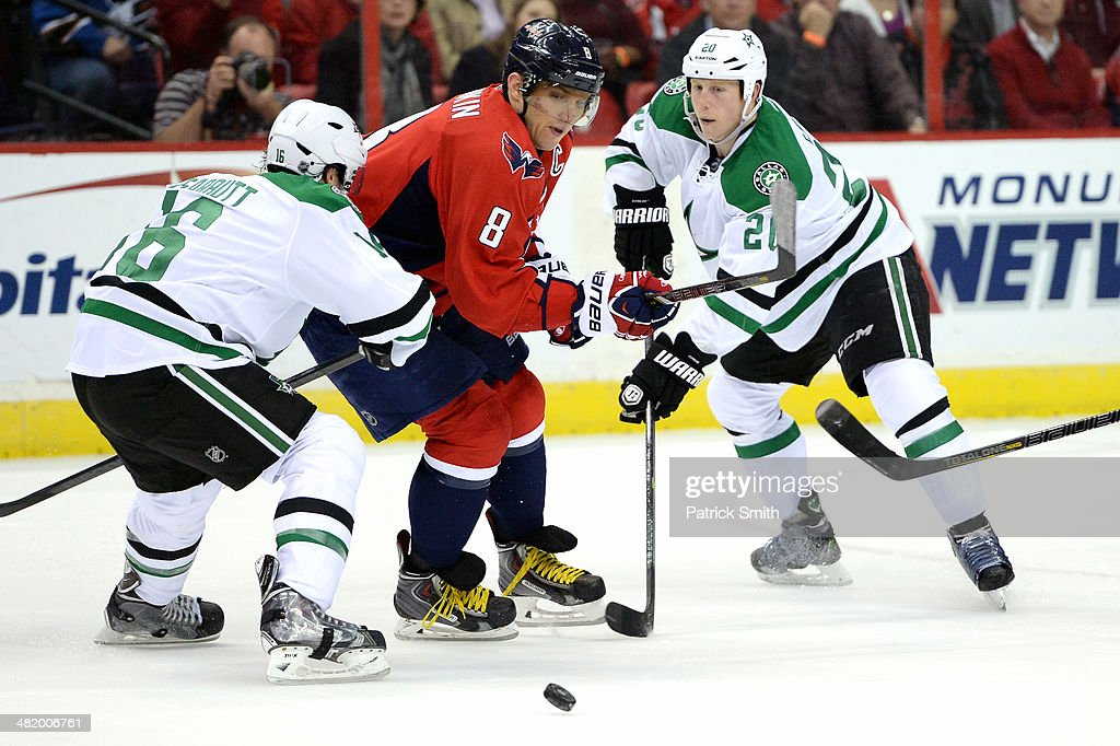 Alex Ovechkin #8 of the Washington Capitals in action against the Dallas Stars during an NHL game at Verizon Center on April 1, 2014 in Washington, DC. The Dallas Stars won, 5-0.