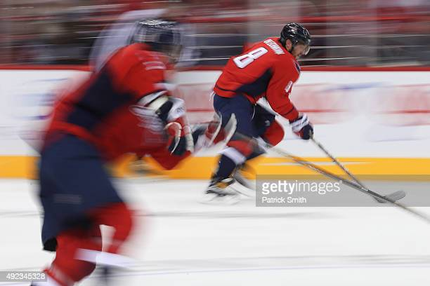 Alex Ovechkin of the Washington Capitals in action against the New Jersey Devils at Verizon Center on October 10 2015 in Washington DC The Washington...