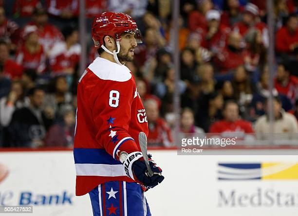 Alex Ovechkin of the Washington Capitals looks on against the New York Rangers in the third period of the Capitals 52 win at Verizon Center on...