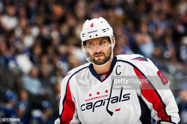 Alex Ovechkin of the Washington Capitals looks on against the Toronto Maple Leafs during the second period in Game Four of the Eastern Conference...